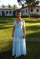 A-Line V-neck Floor-Length Chiffon Bridesmaid Dress With Beading Sequins Cascading Ruffles (007176736)