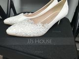 Women's Leatherette Low Heel Closed Toe Pumps With Stitching Lace (273177565)