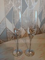 Personalized Lovely Birds Glass/Aluminum Toasting Flutes (Set of 2) (118040920)