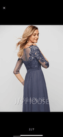 A-Line Scoop Neck Floor-Length Chiffon Evening Dress With Sequins (017209164)