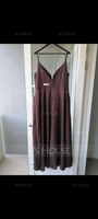 A-Line V-neck Floor-Length Chiffon Bridesmaid Dress (007233642)