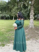 A-Line Off-the-Shoulder Floor-Length Chiffon Lace Evening Dress With Split Front (017237025)