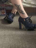 Women's Suede Chunky Heel Pumps Platform Closed Toe shoes (085103242)