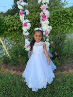 A-Line Tea-length Flower Girl Dress - Organza/Lace Sleeveless Scoop Neck With Beading/Rhinestone (010172374)
