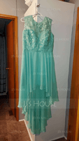 A-Line/Princess Scoop Neck Asymmetrical Chiffon Lace Bridesmaid Dress (266183759)