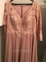 A-Line V-neck Floor-Length Chiffon Lace Mother of the Bride Dress (008235565)