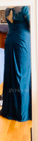 A-Line V-neck Floor-Length Chiffon Lace Evening Dress With Ruffle (017113537)