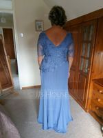 Trumpet/Mermaid Scoop Neck Floor-Length Chiffon Lace Mother of the Bride Dress (267202852)