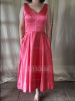 A-Line/Princess V-neck Asymmetrical Satin Bridesmaid Dress With Pockets (266177097)