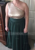 A-Line/Princess One-Shoulder Floor-Length Chiffon Sequined Bridesmaid Dress (007131066)