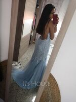 Trumpet/Mermaid Square Neckline Sweep Train Tulle Prom Dresses With Sequins (018224416)