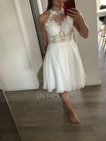 A-Line Halter Knee-Length Chiffon Homecoming Dress With Lace Beading (300244370)