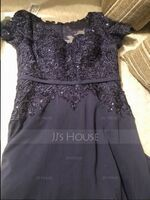 A-Line V-neck Floor-Length Chiffon Lace Mother of the Bride Dress With Sequins (008205186)