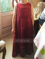 A-Line/Princess Scoop Neck Floor-Length Chiffon Junior Bridesmaid Dress With Bow(s) (268177166)