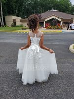 A-Line Ankle-length Flower Girl Dress - Tulle/Lace Sleeveless Scoop Neck With Sash (Detachable sash) (010183529)