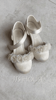 Girl's Closed Toe Silk Like Satin Low Heel Pumps Flower Girl Shoes With Imitation Pearl Velcro Flower (207150977)