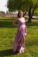 A-Line Square Neckline Floor-Length Satin Prom Dresses With Split Front Pockets (018224404)
