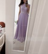 A-Line Scoop Neck Floor-Length Chiffon Lace Bridesmaid Dress (007176777)