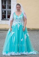 Ball-Gown/Princess V-neck Sweep Train Tulle Prom Dresses (018221191)
