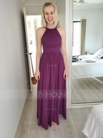 A-Line/Princess Scoop Neck Floor-Length Chiffon Evening Dress With Ruffle (017116498)