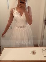 A-Line V-neck Court Train Tulle Wedding Dress With Beading (002171946)