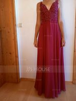 A-Line V-neck Floor-Length Chiffon Evening Dress With Lace Sequins Split Front (017229891)