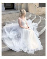 A-Line Illusion Sweep Train Tulle Wedding Dress With Beading Appliques Lace Sequins (002104628)