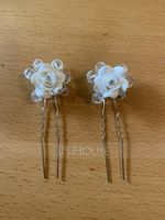 White Alloy Hairpins (Set of 6) (198121130)