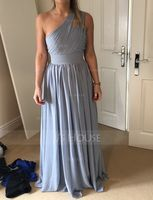 A-Line One-Shoulder Floor-Length Chiffon Bridesmaid Dress With Ruffle (007126469)