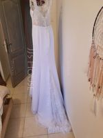 Trumpet/Mermaid Court Train Chiffon Lace Wedding Dress With Beading Sequins (265261352)