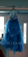 Ball-Gown/Princess Floor-length Flower Girl Dress - Sleeveless Scalloped Neck With Lace/Flower(s)/Bow(s)/V Back (010236816)
