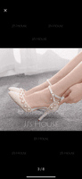 Women's Leatherette Stiletto Heel Closed Toe Pumps With Buckle Imitation Pearl (273237626)