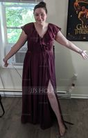 A-Line V-neck Floor-Length Chiffon Bridesmaid Dress With Bow(s) Split Front Cascading Ruffles (266224896)