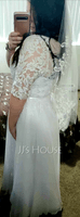 A-Line V-neck Floor-Length Chiffon Lace Wedding Dress (002234889)
