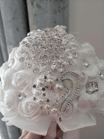 Round Satin Bridal Bouquets (Sold in a single piece) - (123129736)