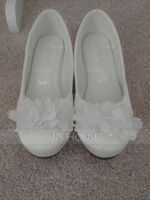 Girl's Round Toe Closed Toe Silk Like Satin Flats Sneakers & Athletic Flower Girl Shoes With Flower (207204378)