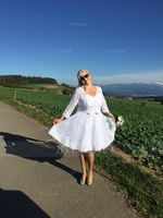A-Line V-neck Knee-Length Lace Wedding Dress With Bow(s) (002056986)