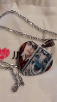 Custom Silver Heart Color Printing Photo Necklace - Mother's Day Gifts (288234213)