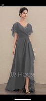 A-Line V-neck Asymmetrical Chiffon Mother of the Bride Dress With Beading Sequins (008179221)