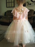 A-Line Knee-length Flower Girl Dress - Chiffon/Tulle/Lace Sleeveless Scoop Neck (010153241)