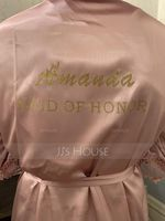 Personalized Charmeuse Bride Bridesmaid Mom Junior Bridesmaid Lace Robes Glitter Print Robes (248220062)