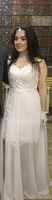 A-Line V-neck Court Train Chiffon Wedding Dress With Split Front (002145293)