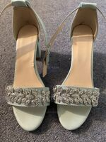 Women's Leatherette Chunky Heel Peep Toe Platform Sandals With Buckle Imitation Pearl Rhinestone Sparkling Glitter Pearl (047235331)