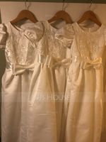 A-Line Ankle-length Flower Girl Dress - Satin/Lace Short Sleeves Scoop Neck (010125831)