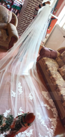 One-tier Lace Applique Edge Cathedral Bridal Veils With Lace (006227459)