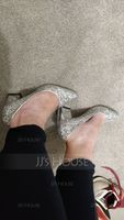 Women's Sparkling Glitter Chunky Heel Closed Toe (273214726)