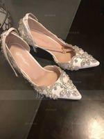 Women's Leatherette Spool Heel Closed Toe Pumps With Crystal (047182376)