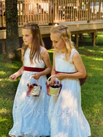 A-Line Floor-length Flower Girl Dress - Satin/Lace Sleeveless Scoop Neck With Sash/Bow(s) (010136577)