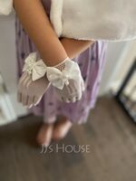 White Polyester Wrist Length Glove (198121129)