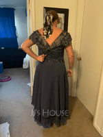 Asymmetrical Chiffon Lace Mother of the Bride Dress (267235351)